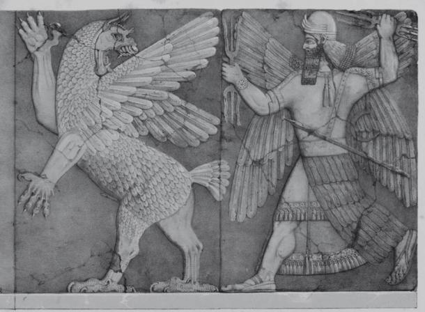 El Dios Sol batallas del Monstruo Caos. Mitología de Mesopotamia habla de Enûma Elish, la Epopeya de la Creación