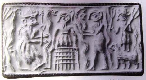 Dioses y serpientes: Enki (apresado) dando el conocimiento?