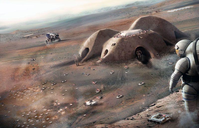 Robots ingenieros que imprimen en 3D imaginados por Norman Foster para una eventual base en Marte.