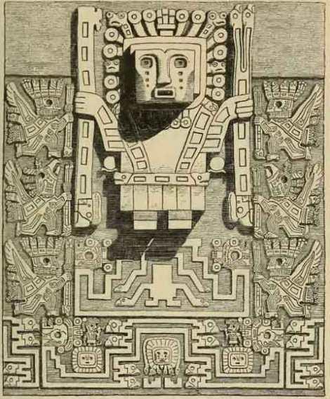 Detalle redibujado del Dios de los Báculos y sus guardianes de la Puerta del Sol