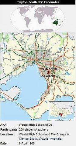 westall australia UFO landing map - El aterrizaje ovni presenciado por más de 200 estudiantes en #Westall, Australia