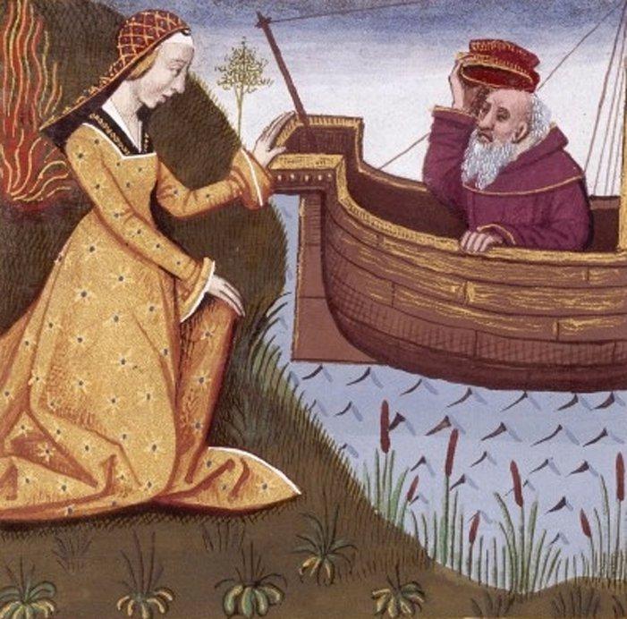 Hipsipila salva a su padre Toante. Miniatura de la obra de Bocaccio 'De mulieribus claris' (Dominio público)