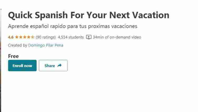 كورس Quick Spanish For Your Next Vacation