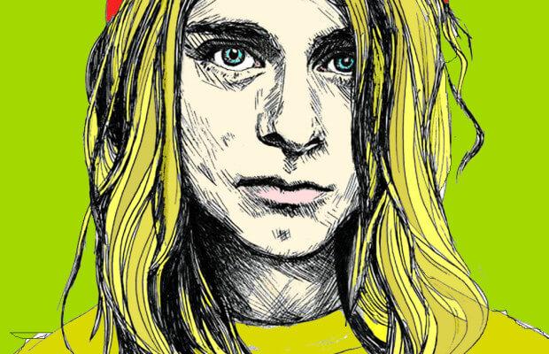 caricatura do cantor de rock kurt cobain