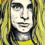 caricatura do cantor de rock kurt cobain
