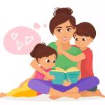 mãe e filhos brincando - desenho