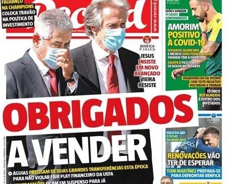 Sem Bruno Henrique ou Gérson: rachado, Benfica terá que vender atletas para fechar as contas, afirma jornal