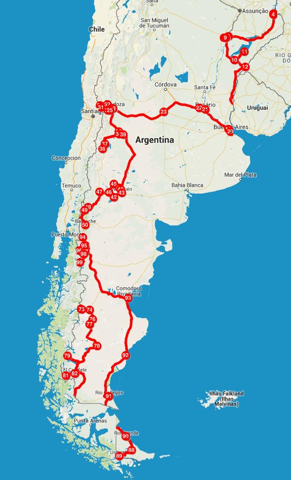 Nossa rota pela Argentina