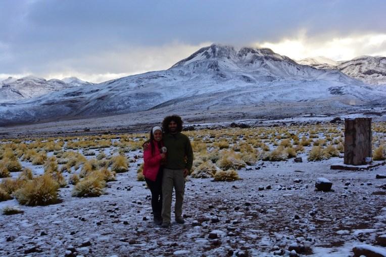 Deserto do Atacama com neve