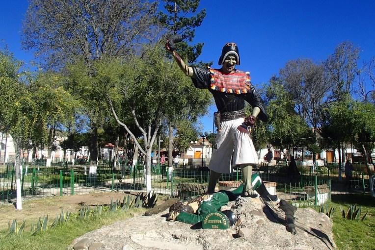 Indígena comendo coração de soldado espanhol em Tarabuco