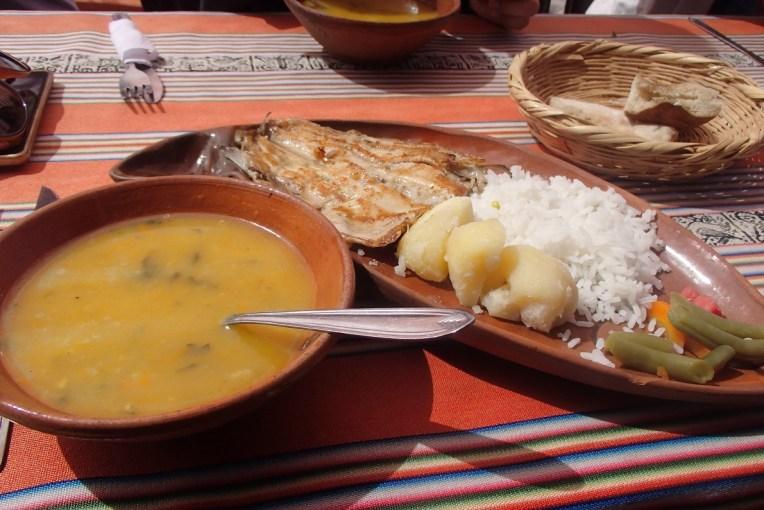 Nosso almoço na ilha de Taquile