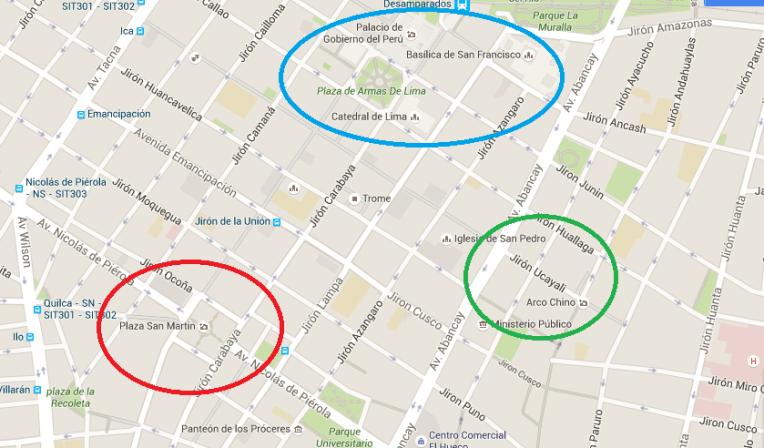 Mapa do centro de Lima