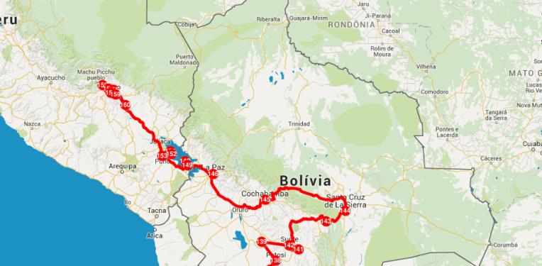 Mapa mochilão Peru Bolívia