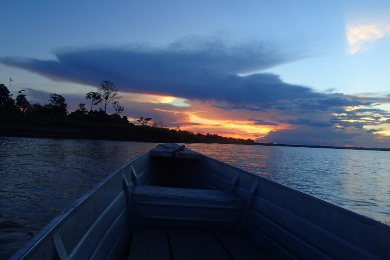 Belíssimo por-do-sol na selva Amazônica