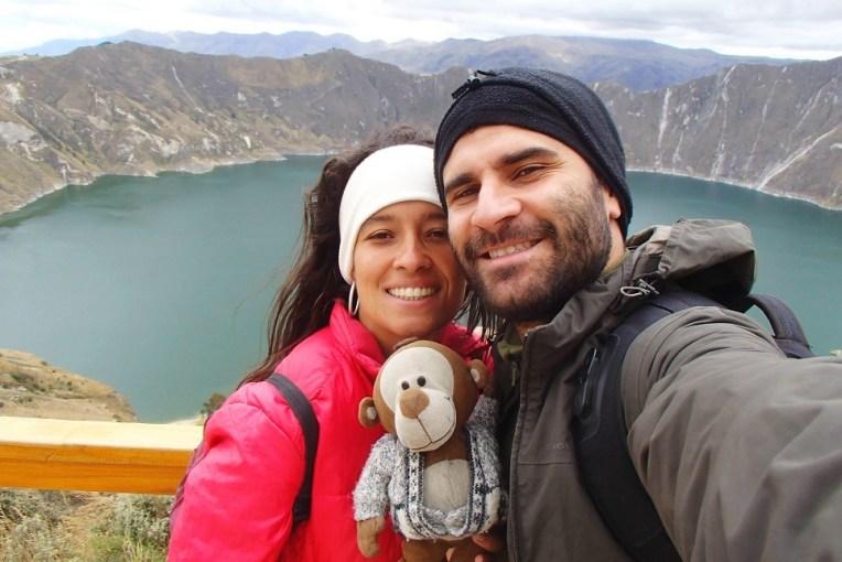 No mirante da lagoa Quilotoa