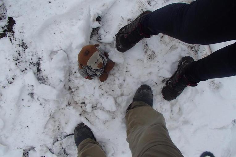 Nossas botas, aguentando até neve no Cotopaxi.
