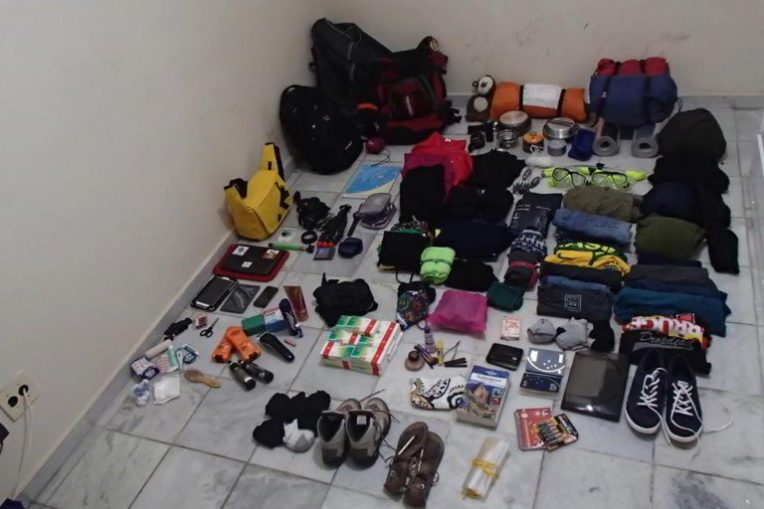 O que levávamos na mochila