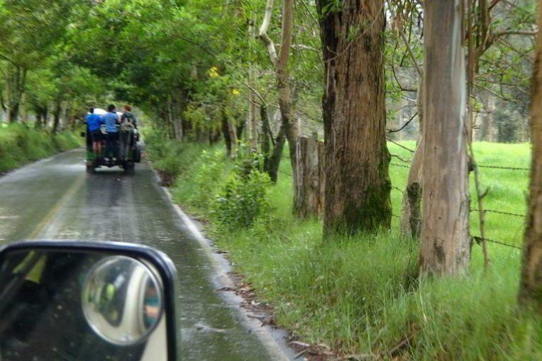 Seguindo de jipe para o Valle de Cocora. Pode ir até pendurado atrás, se quiser!