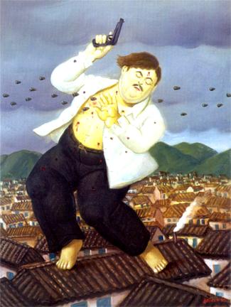 Representação da morte de Pablo Escobar pelo artista colombiano Fernando Botero