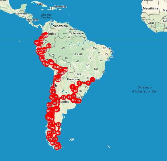 Mapa de 1 ano de mochilão