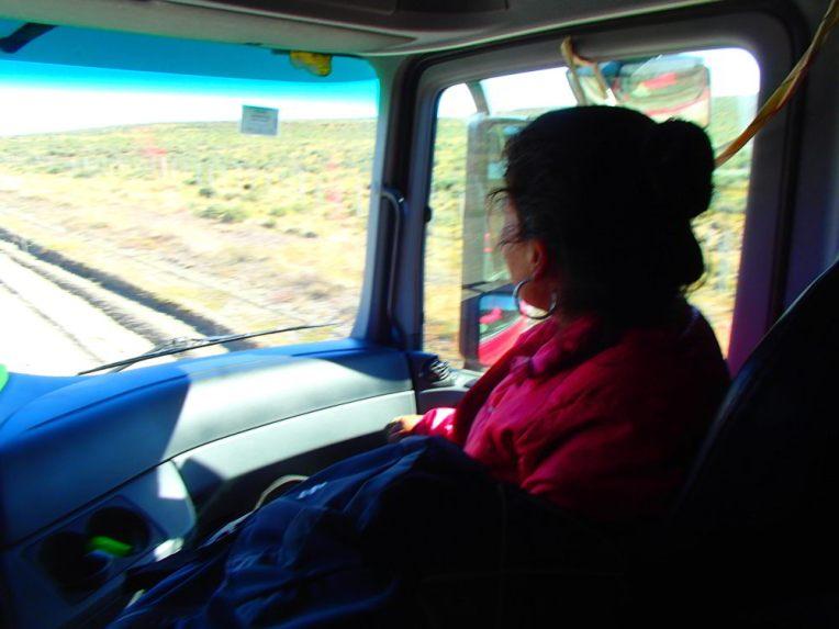 Viajando de carona em um caminhão
