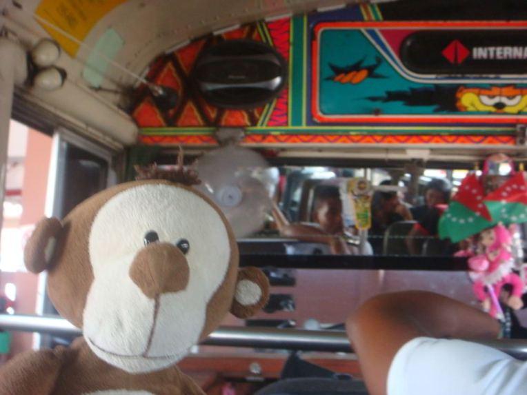 Mucuvinha no ônibus que leva ao Canal do Panamá