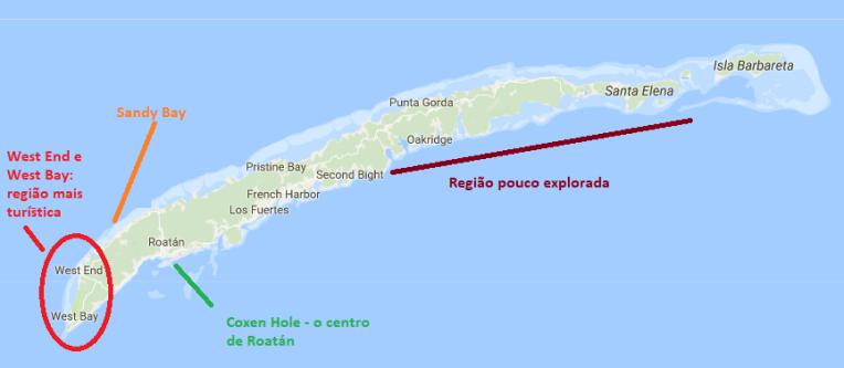 Mapa de Roatán