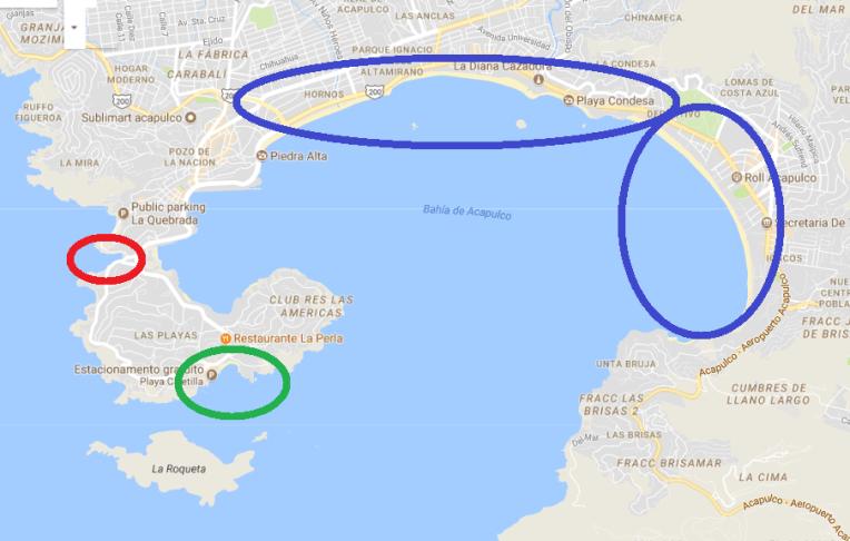 Mapa de praias de Acapulco