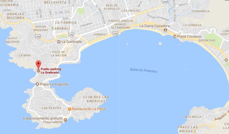 Localização de La Quebrada, em Acapulco
