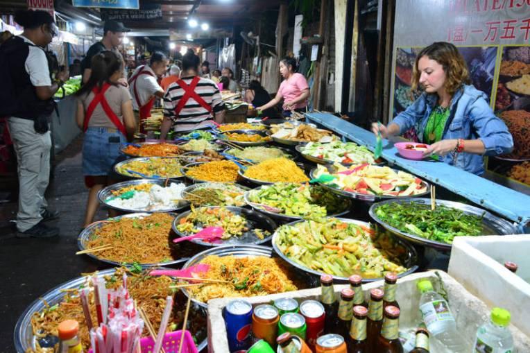 Comida da feira em Luang Prabang