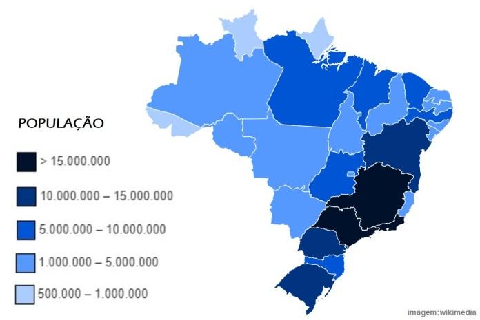 Top 10 estados mais populosos do Brasil em 2020