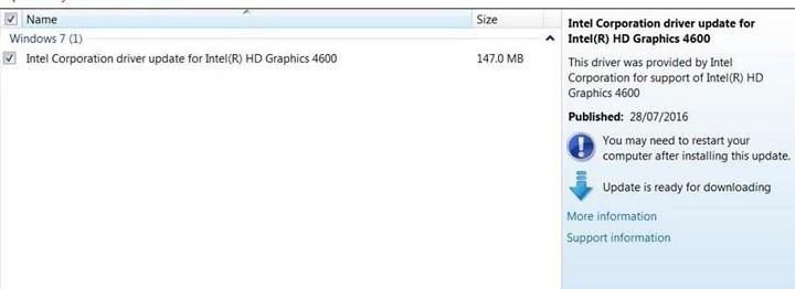 Обновление драйвера Windows 7 для Intel HD Graphics 4600 не удается