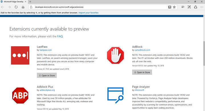 LastPas pour Microsoft Edge officiellement publié dans la dernière version de Windows 10 Aperçu Build
