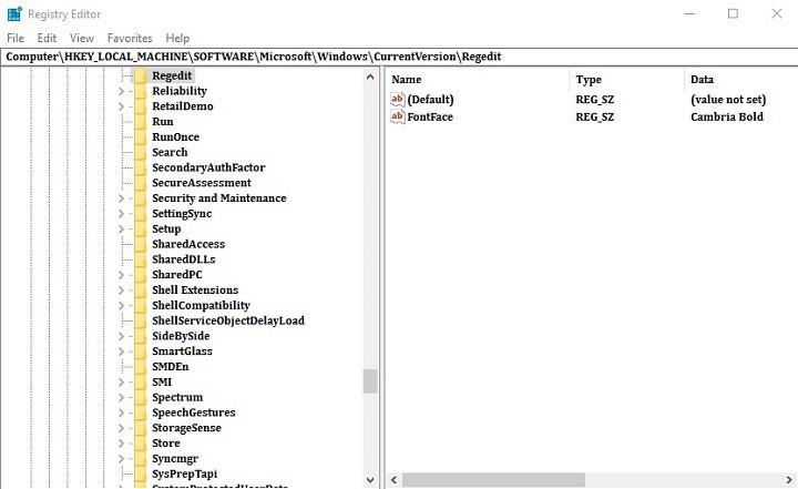 Как изменить шрифт по умолчанию в редакторе реестра в Windows 10