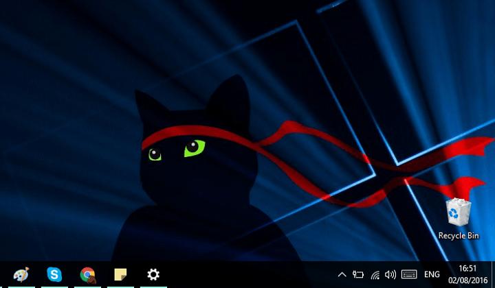Удаление значков Windows Ink и Центра поддержки в Windows 10 v1607