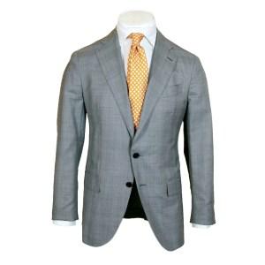 Caruso Herren Anzug Grau/Blau Wolle/Seide Einreiher Luxus