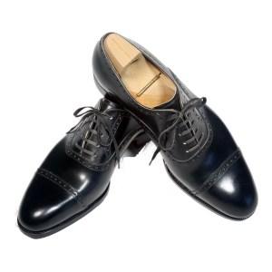 Saint Crispin`s Herren Schuhe Leder Schwarz Schnürer Luxus