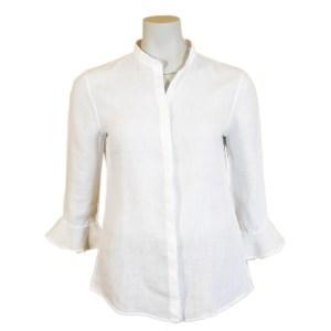 Artigiano Damen Bluse Leinen Weiß Luxus italienisch