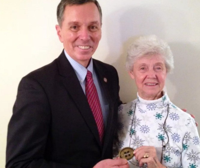 Presidential Coin for Excellence Awarded to Ada Mae Saxton '53
