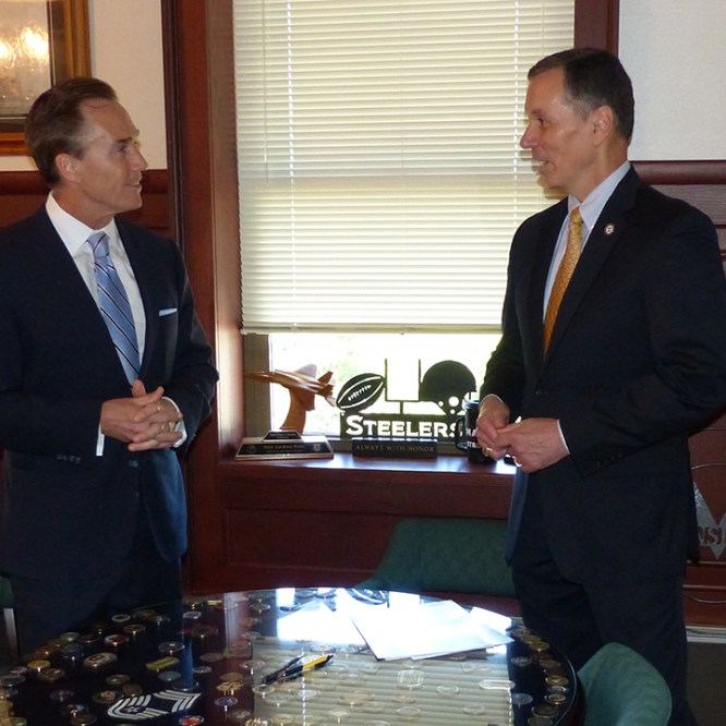 Stack Meets with Mansfield President Fran Hendricks