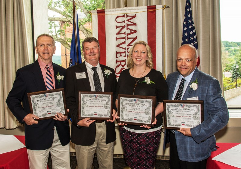 2018 Society of Honors inductees (L-R): Kenneth Bianchi '67, Steve McCloskey '91, Karen Knaus '07, Timothy Rooney '88.