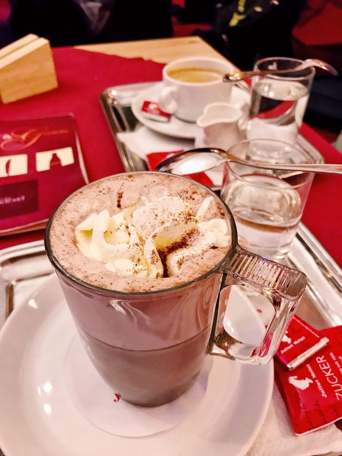 hot chocolate at cafe mozart