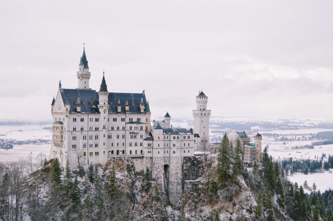 neuschwanstein castle in germany in snow