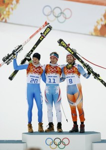 Feb. 9, 2014 - Sochi, Russia - Winners of the Men's Downhill from left, CHRISTOF INNERHOFER of Italy (silver), MATTHIAS MAYER of Austria (gold), and KJETIL JANSRUD of Norway at the Rosa Khutor Alpine Center at the 2014 Sochi Winter Olympics -- photo: dpa