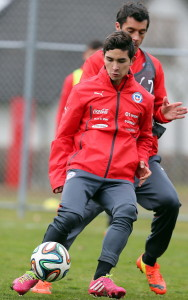 Chilean national soccer player Felipe Gutierrez during a training session at Sport Complex Ruit in Stuttgart, Germany, 04 March 2014 -- photo: dpa