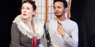 "Esther Gilvray and Makrand Mujumdar in ""Stage Kiss"""