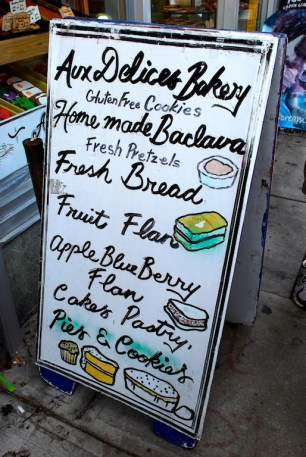 Aux Delices Bakery sign