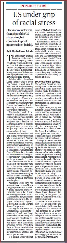 Deccan Herald Dec 12 2014 Racial stress in USA