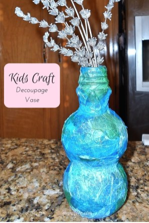 Kid's Craft: Decoupage Vase. A recycled bottle, some tissue paper and glue is all that's needed to make this lovely little vase. Mother's Day craft