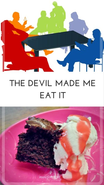 The Devil Made Me Do It... tale of the devil and his minions trying to make a woman give into the temptation of chocolate cake. fitness. funny. humor